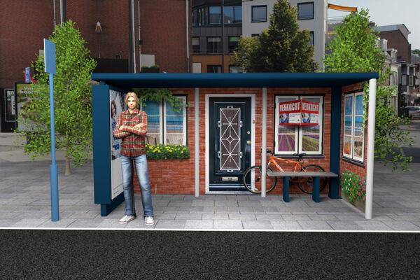 Ontwerp 3D bushokje woonhuis Rabo Bollenstreek