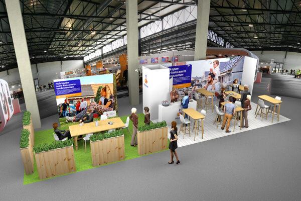 Ontwerp 3D stand Rabo Rotterdam WTC Woonbeurs 2020 versie 2